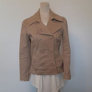 H&M tan double breasted cotton blend jacket size 8